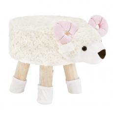 Taburet v tvare ovečky látka Velvet biela/ružová/prírodná, LOLA