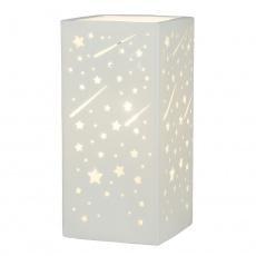 Keramická stolní lampa, bílá / vzor hvězdy, BELLE TYP 1