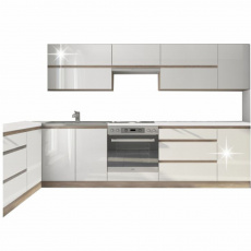 Kuchyňská sestava, bílá vysoký lesk HG / dub sonoma, LINE