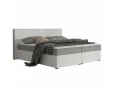 Komfortní postel, šedá látka / bílá ekokůže, 180x200, NOVARA KOMFORT