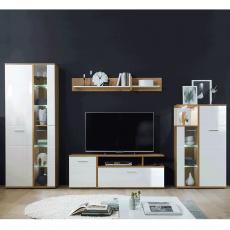 Obývací stěna, bílá vysoký lesk HG / dub artisan REVEL