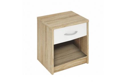 Noční stolek, dub sonoma/bílá, BISI 163755