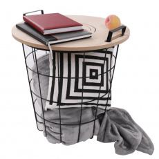 Příruční stolek, přírodní vzor/černá, NANDO