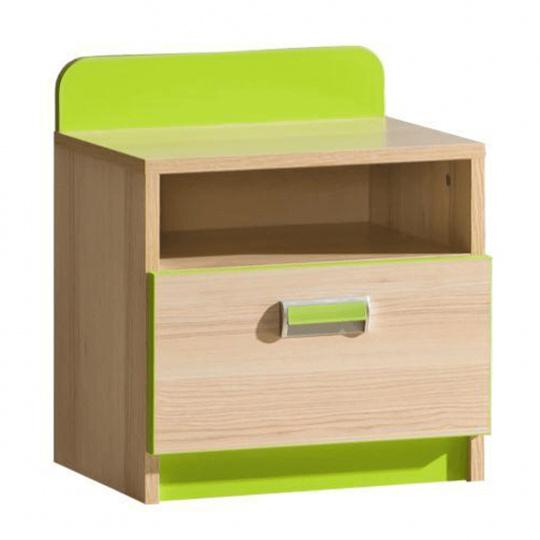 Noční stolek, jasan / zelený, EGO L12