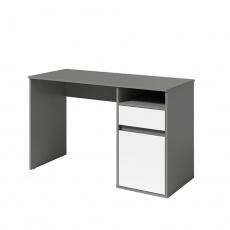 PC stůl, tmavě šedá-grafit/bílá, BILI