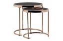 Set 2 konferenčních stolků, rose gold chrom růžová/černá, MORINO