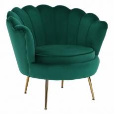 Křeslo ve stylu Art-deco, smaragdová Velvet látka / gold chrom-zlatý, NOBLIN