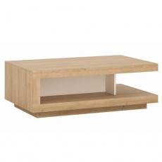 Konferenční stolek LYOT01, dub riviera / bílá s extra vysokým leskem, LEONARDO