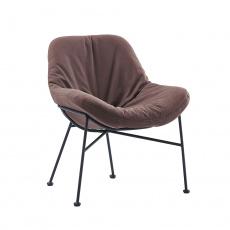 Jídelní židle, látka s efektem broušené kůže, hnědá, KALIFA