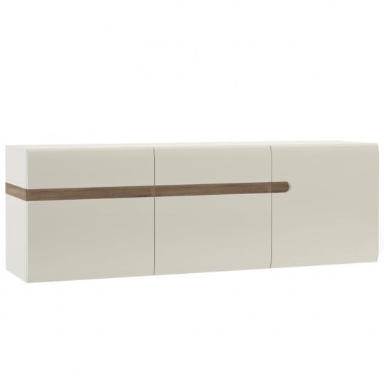 Visící skříňka, bílá extra vysoký lesk HG / dub sonoma tmavý truflový, LYNATET TYP 67