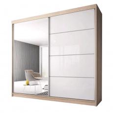 Skříň s posuvnými dveřmi, dub sonoma / bílá, 203x61x218, MULTI 35