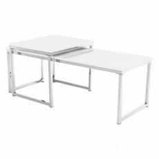 Set 2 konferenčních stolků, bílá extra vysoký lesk, ENISA TYP 2
