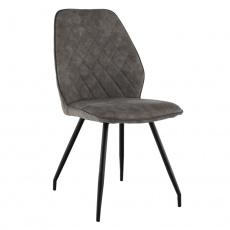 Jídelní židle, šedohnědá látka s efektem broušené kůže, HERDA