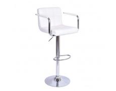 Barová židle, bílá ekokůže / chrom, Leora New
