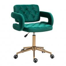 Kancelářské křeslo, Velvet látka zelená / zlatá, NELIA