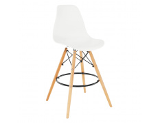 Barová židle, bílá/buk, CARBRY 2 NEW