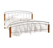 Manželská postel, dřevo olše/stříbrný kov, 140x200, MIRELA