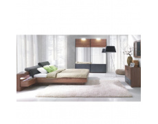 Ložnicový komplet (skříň + postel 160x200 s 2 nočními stolky), ořech / grafit, REKATO