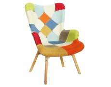 Designové křeslo, barevný patchwork, KAPRUN