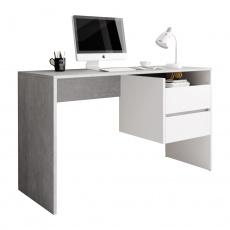 PC stůl, beton/bílý mat, TULIO