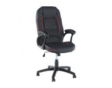 Kancelářská židle, ekokůže černá / červený lem, PORSHE NEW