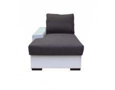 Otoman s úložným prostorem, bílá / šedá, levý, OREGON 01-TOM