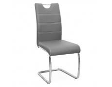 Jídelní židle, ekokůže světle, světlé šití / chrom, ABIRA NEW