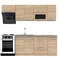 Kuchyňská linka 2,4 m, dub sonoma, NOVA PLUS