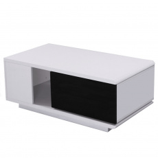 Konfferenční stolek, bílá / černá HG, DEMBA NEW