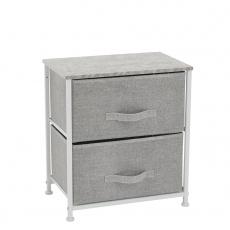 Komoda / noční stolek s látkovými šuplíky, šedá / bílá / světle šedá, ROSITA TYP 1