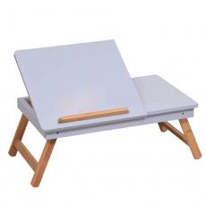 Příruční stolek na notebook / držák na tablet, bílá / přírodní bambus, MELTEN