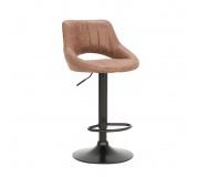 Barová židle, hnědá látka s efektem broušené kůže, LORASA