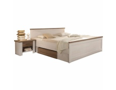 Postel + 2x noční stolek, pinie bílá / dub sonoma truflový, LUMERA