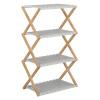 4-poličkový regál, přírodní bambus/bílá, PEORIA TYP 3