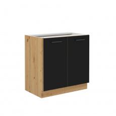 Spodní kuchyňská skříňka, černý mat / dub artisan, Monro 80 D 2F BB