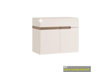 Skříňka s keramickým umyvadlem, bílá extra vysoký lesk HG / dub sonoma truflový, LYNATET TYP 150