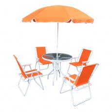 Zahradní set, oranžová / bílá, ODELO