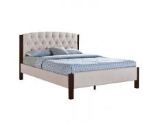 Manželská postel, písková / tmavý ořech, 160x200, ELENA New