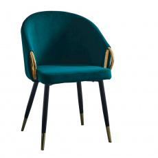 Designové křeslo, smaragdová velvet látka / gold chrom zlatý, DONKO