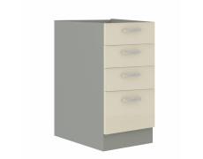 Skříňka dolní, krémový extra vysoký lesk/šedá, PRADO 40 D 4S BB