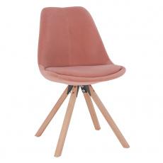 Židle, růžová Velvet látka / buk, SABRA