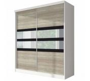Skříň s posuvnými dveřmi, dub sonoma / bílá / černé sklo, 183x218, MULTI 10