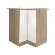 Dolní skříňka DR L, vysoký bílý lesk/dub sonoma, LINE