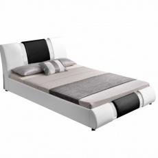 Moderní postel, bílá / černá, 160x200, LUXOR