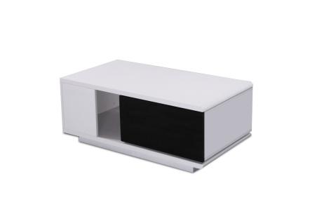 Konferenční stolek, MDF, bíla / černá extra vysoký lesk, Demba CT300