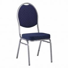 Židle, stohovatelná, látka modrá/šedý rám, JEFF 3 NEW 2