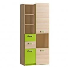 Skříň, kombinovaná, jasan / zelená, EGO L7