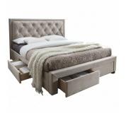 Manželská postel, šedohnědá, 160x200, OREA