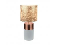 Stolní lampa, šedohnědá / růžovozlatá / zlatá vzor, QENNY TYP 18