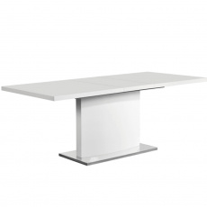 Rozkládací jídelní stůl, bílá vysoký lesk HG, KORINTOS
